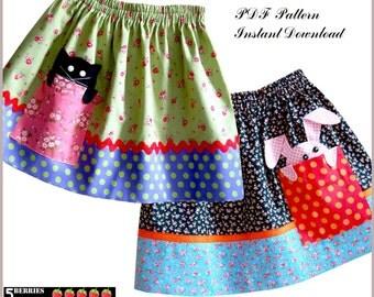 Pik-a-boo Girls SKIRT PATTERN + Free Mother-Daughter Apron Pattern, Sewing pattern for Children, PDF, clothing patterns, craft supplies