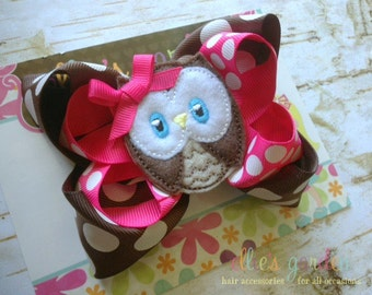 M2M Look Who's Turning 1 One Embroidered Owl Boutique Style Hair Bow Pink  Brown