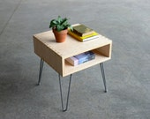 Mid Century Modern Inspired Baltic Birch Plywood Side Table w/ Hairpin Legs