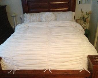Shabby Chic King Size Gathered Duvet Cover Ruffled bedding comforter in white