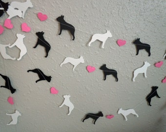 Boston Terrier Love Paper Garland - Valentine's Day Decor - Choose Your Colors