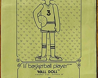 """RARE Doll Pattern Vintage 80's Lil' Basketball Player 36"""" Tall by Design Source UNCUT"""