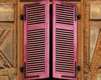 Fine Art Color Architecture Photography of Pink Shutters in Colmar France 11x14 Print
