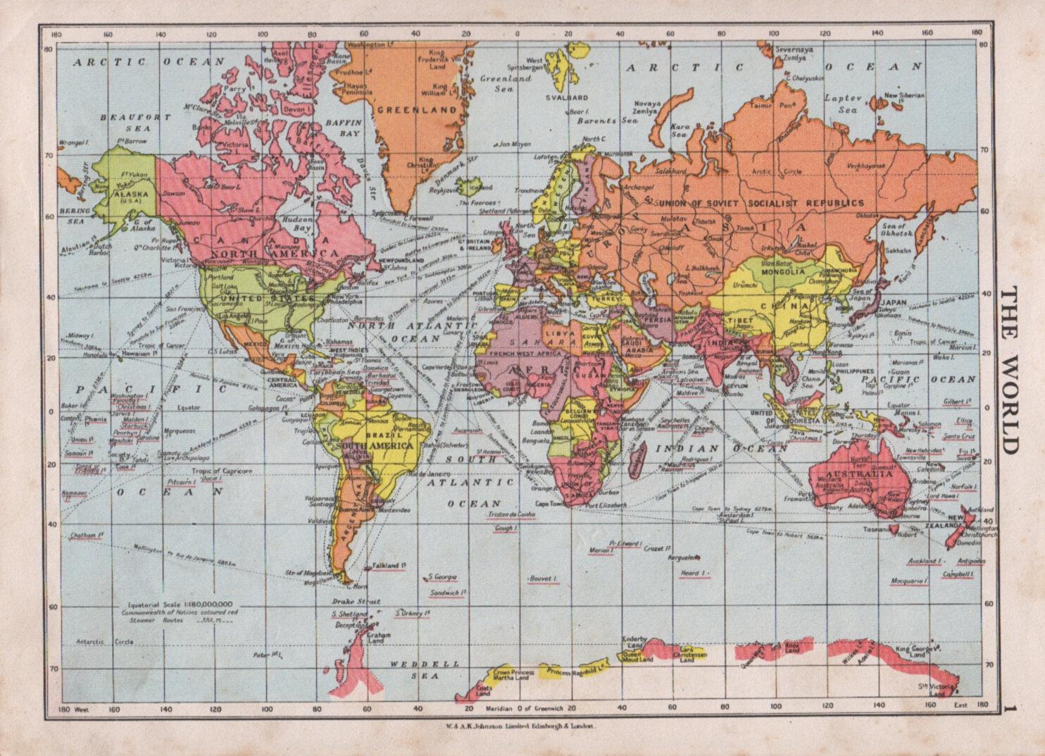 1950s vintage world map print bright colours political world. Black Bedroom Furniture Sets. Home Design Ideas