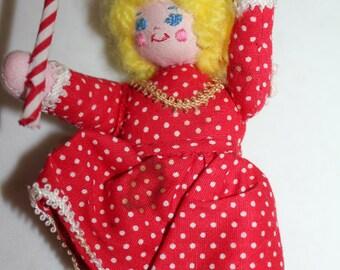 Handcrafted Girl Christmas Ornament - Soft Handmade Ornament -Vintage