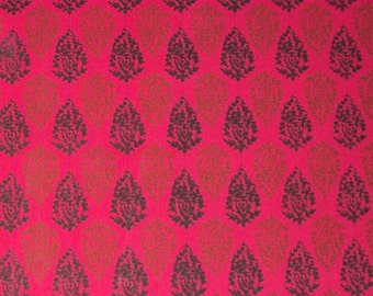 hand printed cotton fabric - pink indian print fabric - 1 yard - ctjp120