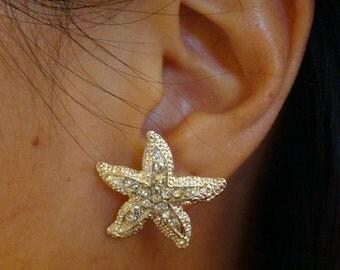 Rhinestone STARFISH bridal stud earrings / wedding starfish studs / beach wedding starfish / bridal starfish earrings