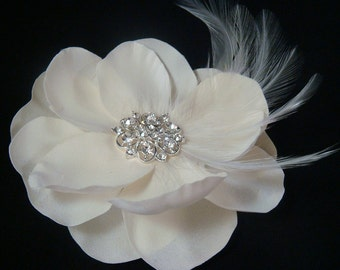 Champagne Ivory  Magnolia with Rhinestone centerpiece and Feathers/ bride wedding hair flower hair clip