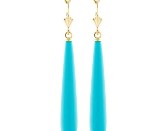 35mm Long Sleeping Beauty Turquoise Teardrop Lever Back Earrings, Solid 14K White or Yellow Gold, Slender Turquoise Teardrop Earrings
