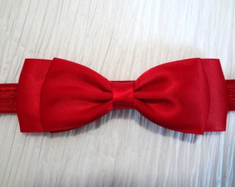 Scarlet Red Bow Headband. Scarlet Hair Bow, Christmas Hair Bow, Satin Bow, Baby Girls Hair Accessories, Baby Hair Accessories, Ruby Red