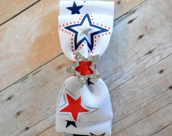 Red White & Navy Blue Star Print Bow Headband. Fourth of July Baby Headband. Baby Hair Accessories. Baby Girls Hair Accessories. July 4th