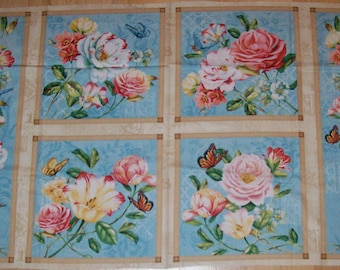 A Wonderful Delicate Romance Roses Cotton Quilting Fabric Panel Free US Shipping