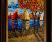 Sail Boats. 20in x 24in Framed heavy textured original oil on canvas painting
