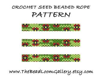 Beaded Rope Pattern - PDF File - Crochet Seed Beaded Rope - Vol.30 - Poppies Field - Copy
