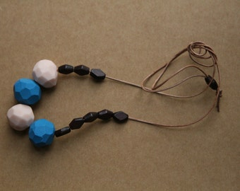 Clay Bead Necklace in Blue, Pink, Dark Brown Wood