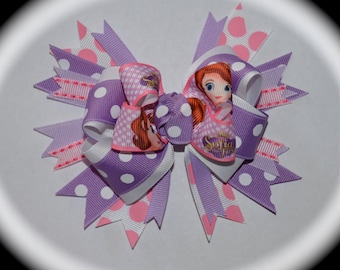 Custom Boutique Girls Disney Vacation Birthday SOFIA the FIRST APPLIQUE Princess Personalized Shirt Matching Hair Bow Clip Set