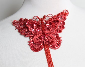 Cute beaded  butterfly applique red color