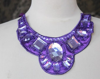 Cute  beaded and   embroidered  applique purple color   1 pieces listing