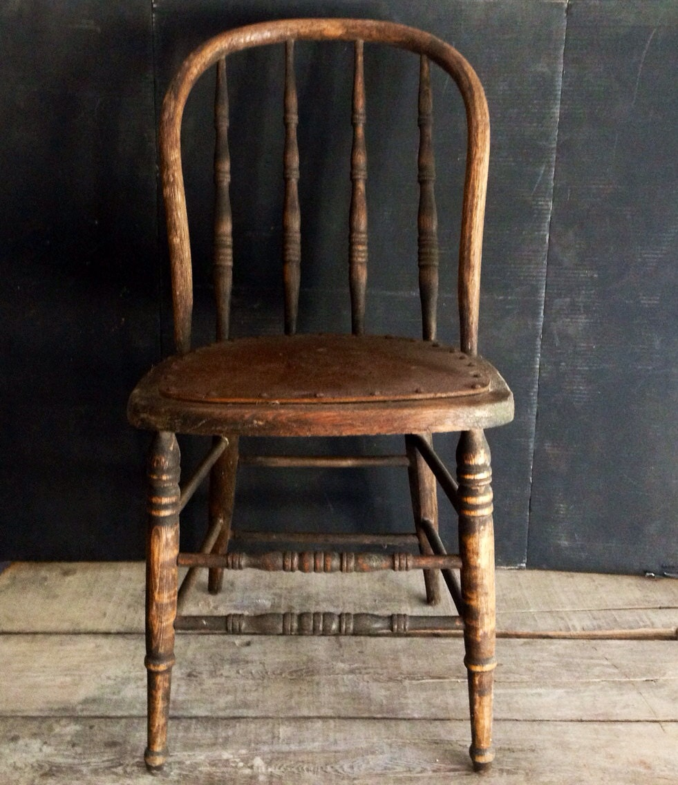 Primitive Antique Spindle Back Chair Urban Farmhouse Kitchen