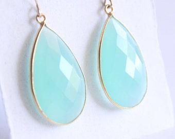 Large Aqua Chalcedony Marquis Drop Earrings