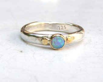 Blue opal ring, Engagement Ring, 14k gold ring ,solitaire ring ,silver sterling band ring, gift for her,MADE TO ORDER, October Birthstone