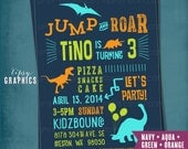 JUMP & ROAR Dinosaur Birthday Party Invite.  Super Fun Jumping Bouncing Trampoline Invitation