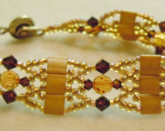 PATTERN for Tila Jewel bracelet with crystals and seed beads weaving