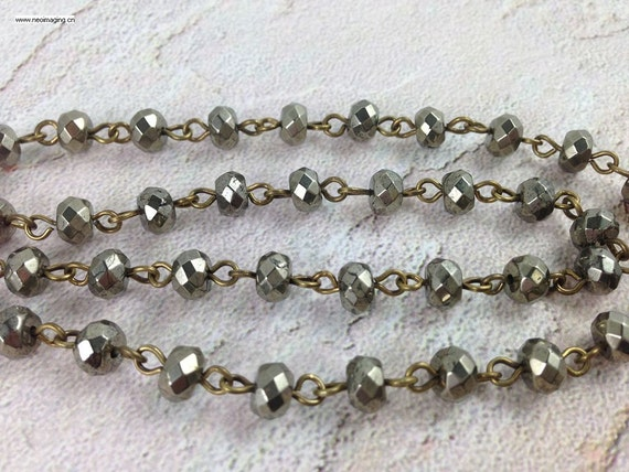 Wire Wrapped Beaded Chain Antique Bronze Rosary Style