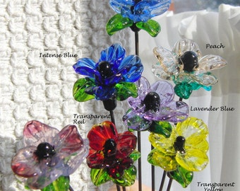 Fairy Garden Art - Sun Catcher - Plant Stake  - Lampwork Glass Poppy Flower