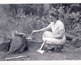 Woman PREPARES MEAL Over FIRE While Camping Photo Circa 1940s