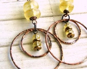 Sunny . . Antique Copper, Recycled Glass and Swarovski Glass Dangle Earrings