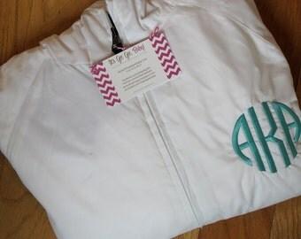 White Monogrammed Personalized Rain Jacket Pullover - 11 colors, Monogram Rain Jacket