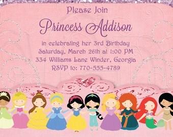 Princess Invitation Birthday, Princess party, princess birthday, Disney Inspired all Princesses- Digital File
