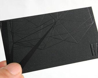 200 Business Cards -black  foil  - 14PT black matte stock -  custom printed