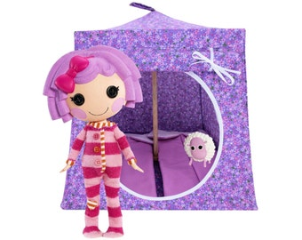 Toy Pop Up Tent, Sleeping Bags, lavender, small flower print fabric for dolls, stuffed animals