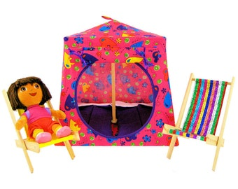 Toy Pop Up Tent, Sleeping Bags, pink, heart & flower print fabric
