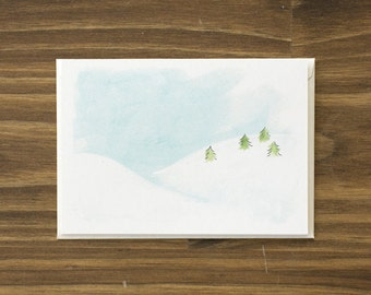 snowy hills holiday card