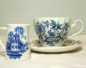 Vintage Personal Creamer Individual Serving Cobalt Blue and White Maddox England Bombay Small Pitcher