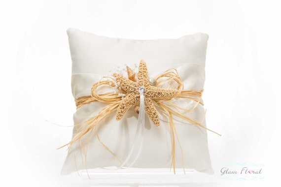 Starfish & Raffia Ring Bearer Pillow, Flower Girl Basket, White Ivory Nautical Set, Sea Shells, Pearls, Natural Orange Sugar Starfish