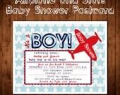 Printable POSTCARD Vintage Star Airplane baby shower invitation -- A Custom postcard Digital or Printed for you