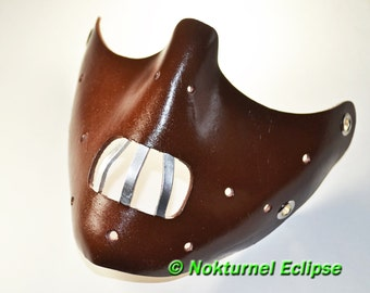 Dark Brown Hannibal Lecter Leather Mask Fetish Halloween Masquerade Horror Cosplay Creepy Costume UNISEX  - Available in Any Basic Color