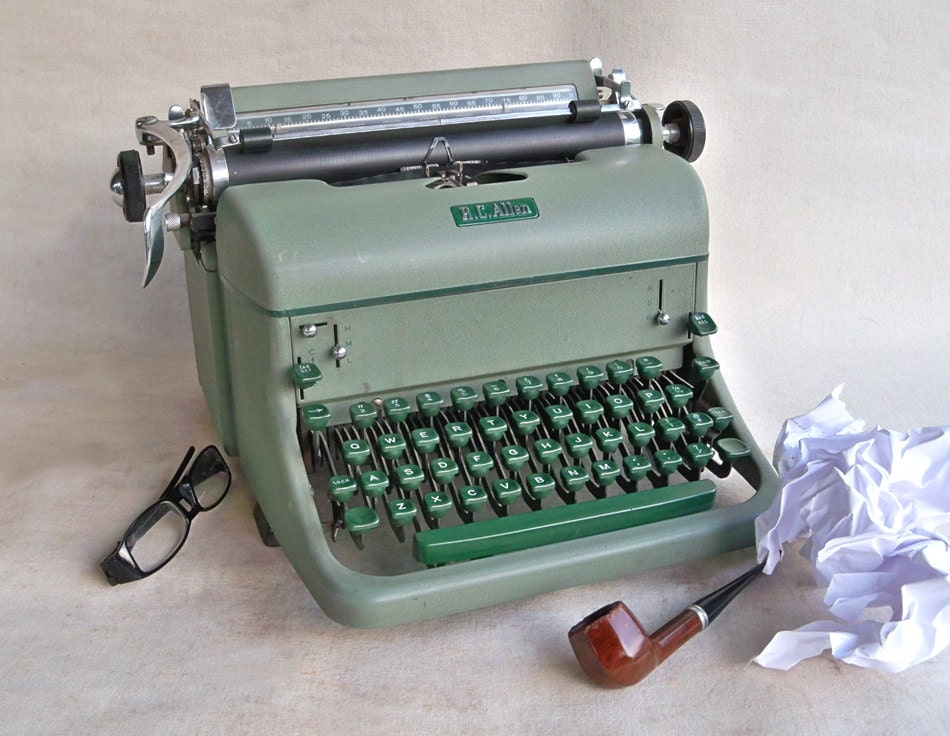 1950s R C Allen Typewriter Sage Green With Green
