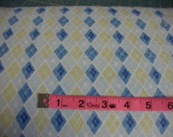 Flannel Fabric Prints Argyle Blues and Green Cotton