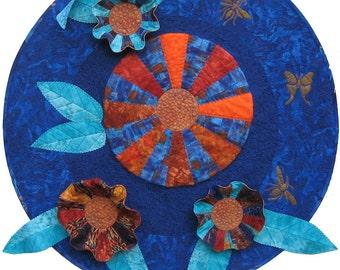 Kahnflowers Art Quilt Fiber Art Wallhanging