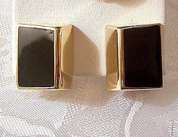 Napier Black Clip On Earrings Gold Tone Vintage Square Bevel Adjustable Screwback