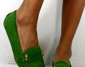 Vintage loafers green pink womens suede Lilly Pulitzer flats 7