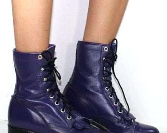 Vintage grunge granny COMBAT barn boot riding justin womens purple cowboy western oxford pixie lace up 6.5 M B