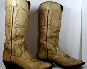 Vintage bone tan tall heel Sanders cowboy marble mid calf Leather fashion western boots mens 9.5 D