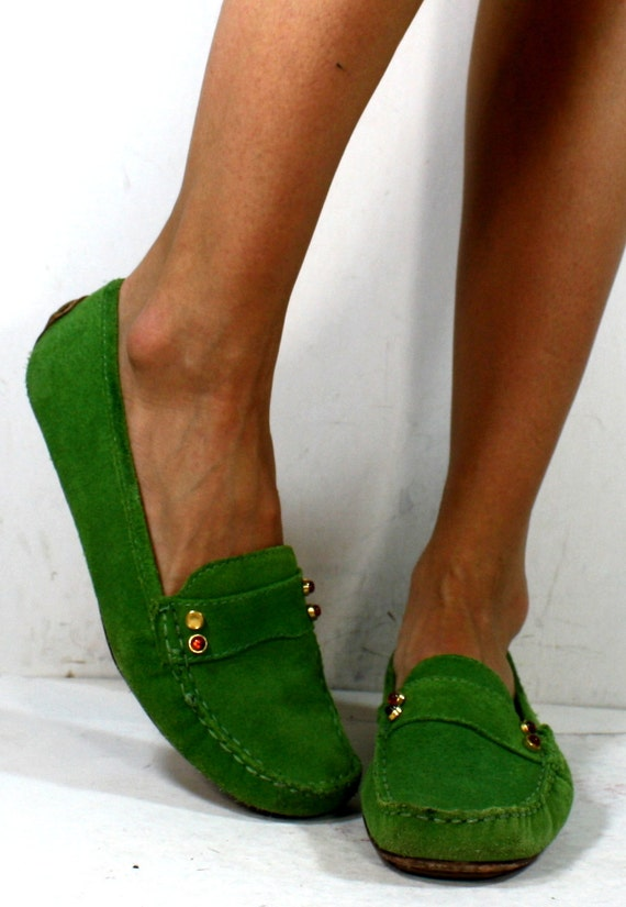 vintage loafers green pink womens suede by grannyvintageshoes