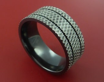 Black Zirconium Wide Ring Textured Knurl Pattern Band Made to Any Sizing and Finish 3-22